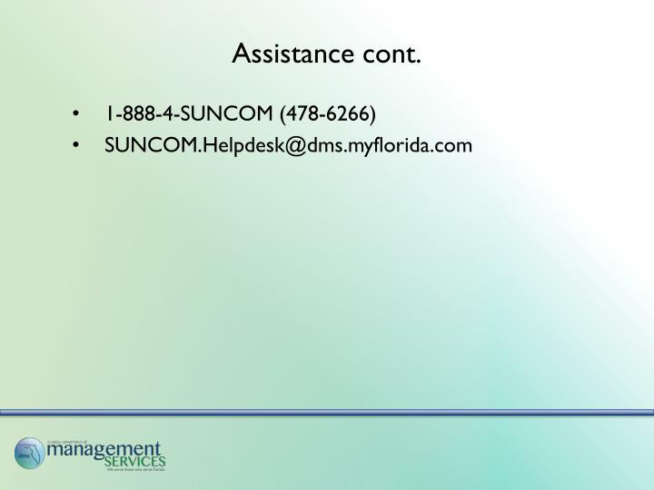 Assistance cont.