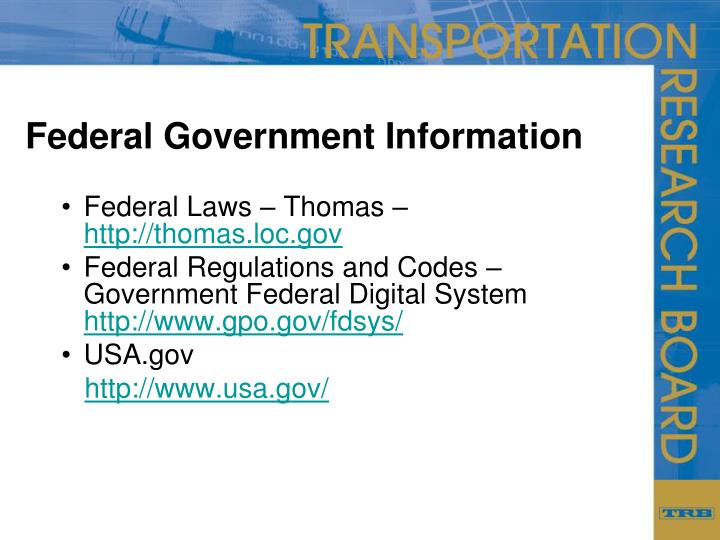 Federal Government Information