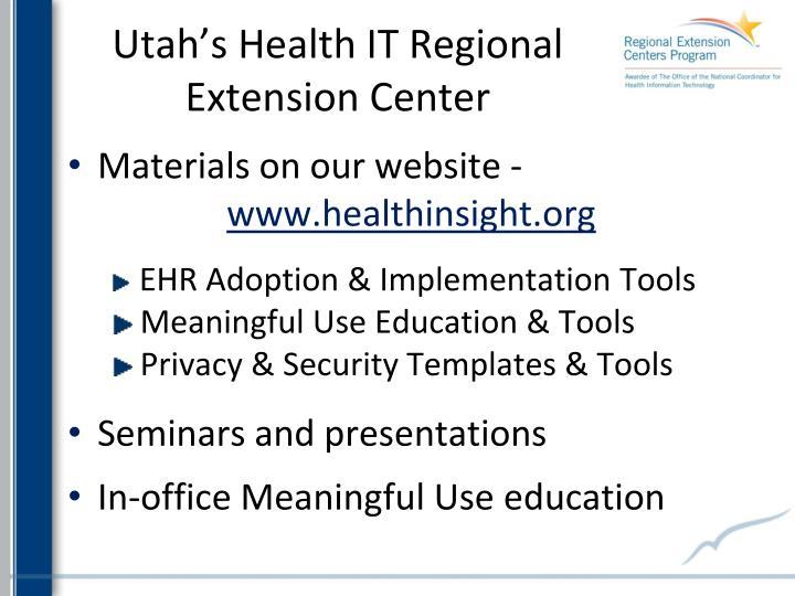 Utah's Health IT Regional Extension Center