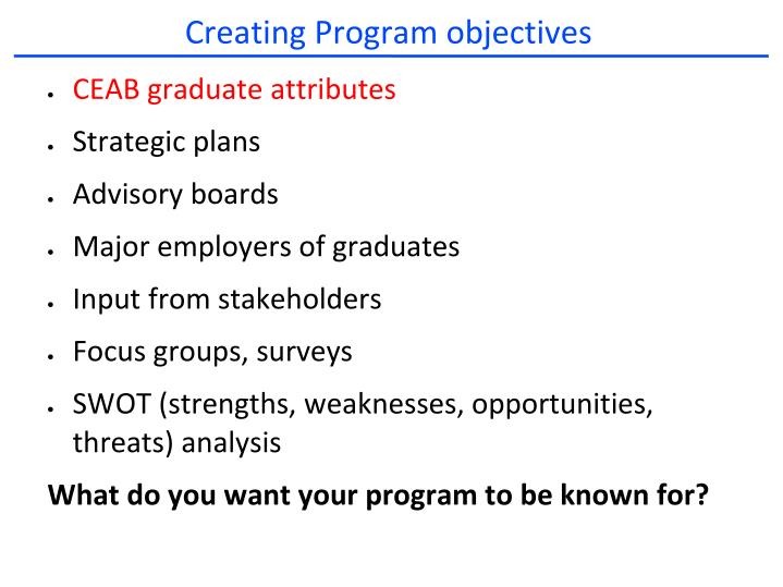 Creating Program objectives