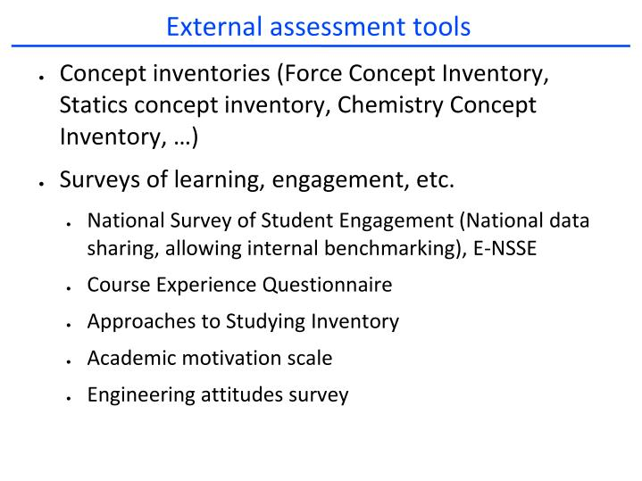 External assessment tools