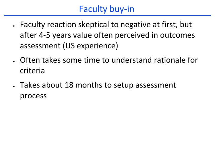 Faculty buy-in