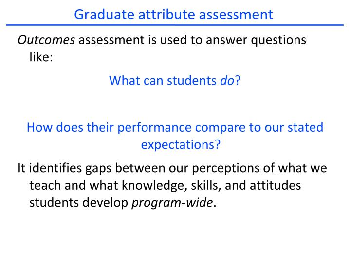 Graduate attribute assessment