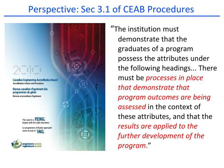 Perspective: Sec 3.1 of CEAB Procedures