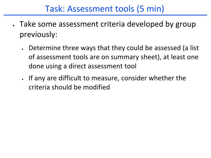 Task: Assessment tools (5 min)