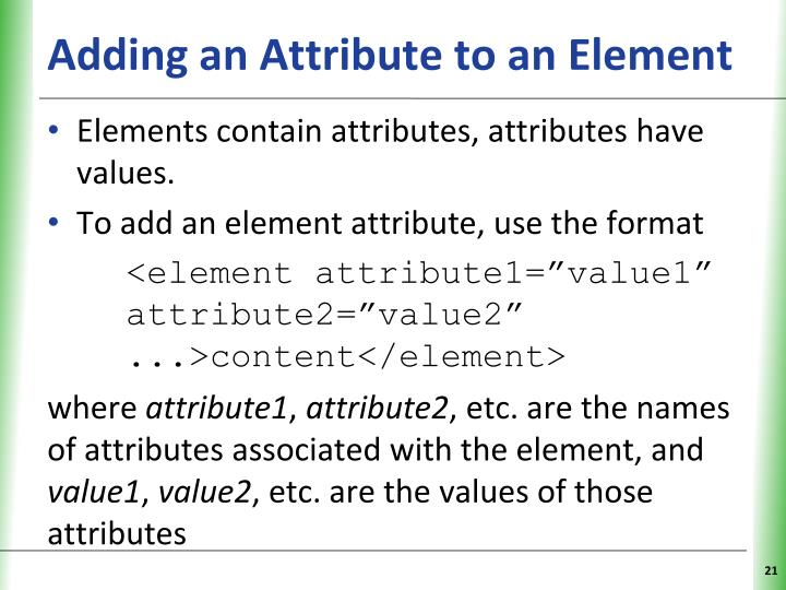 Adding an Attribute to an Element