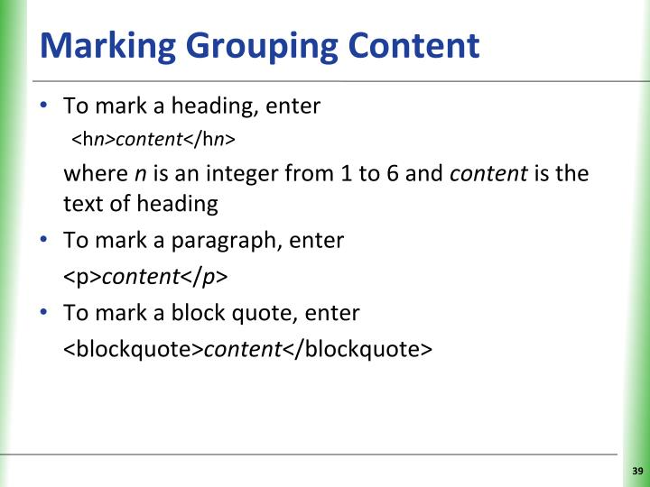 Marking Grouping Content