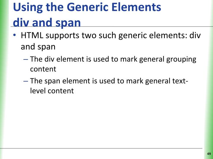 Using the Generic Elements