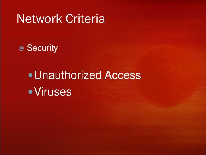 Network Criteria