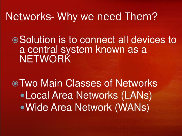 Networks- Why we need Them?