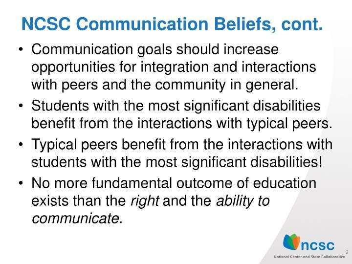 NCSC Communication Beliefs, cont.