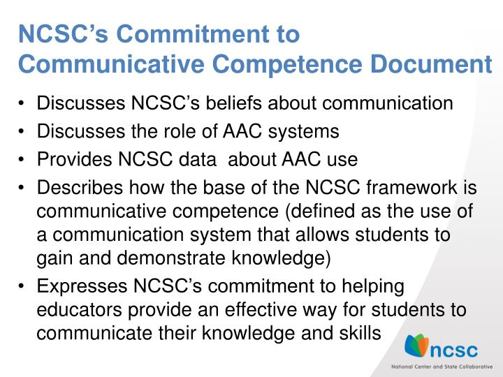 NCSC's Commitment to Communicative Competence Document