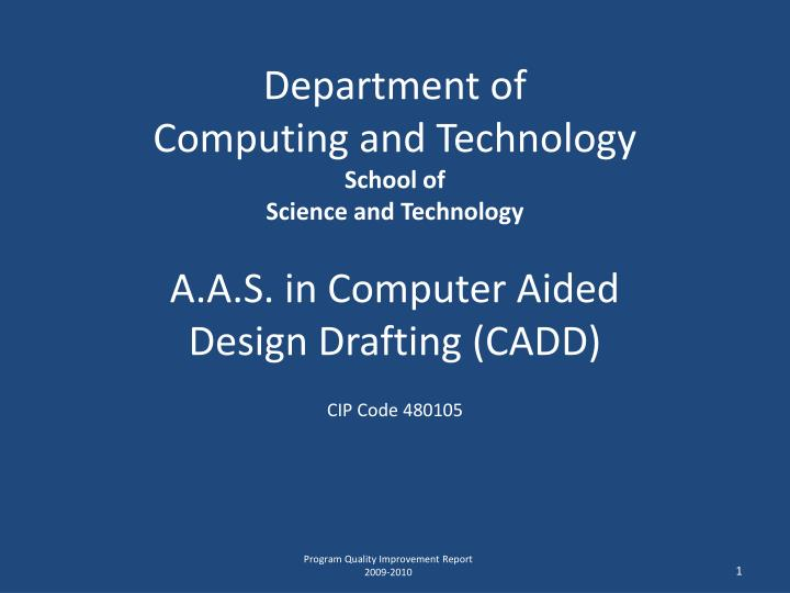 Department of computing and technology school of science and technology