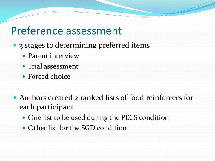 Preference assessment