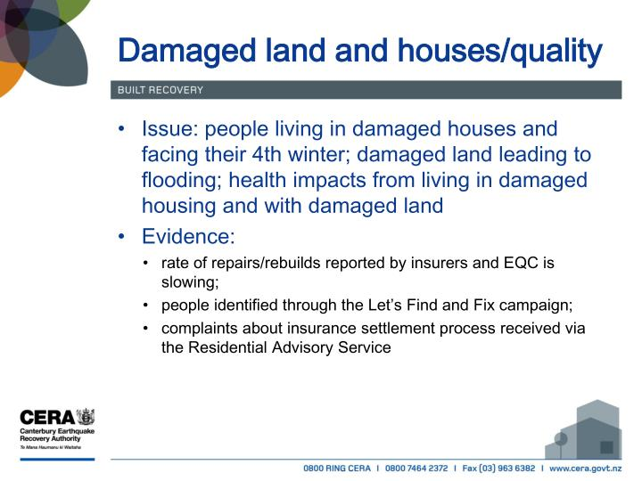 Damaged land and houses/quality
