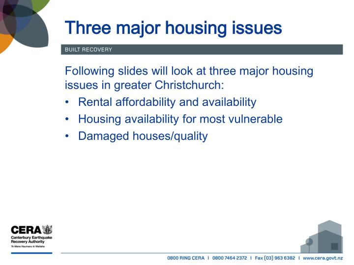 Three major housing issues