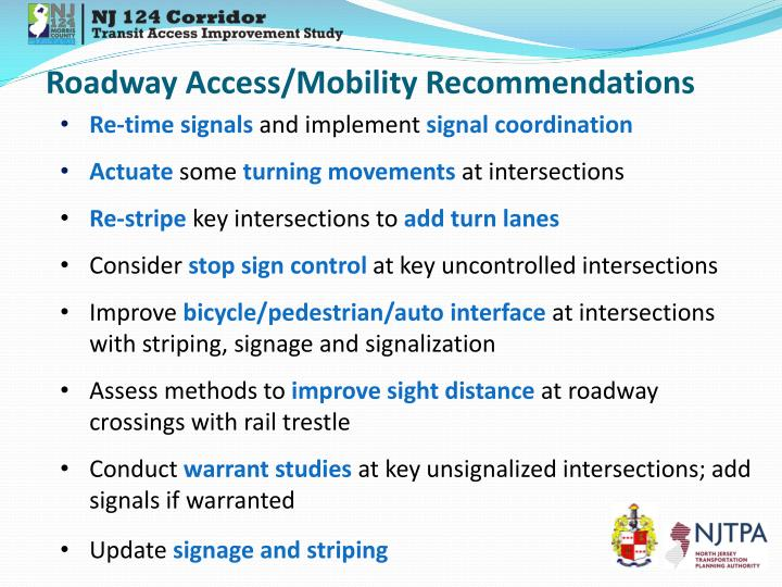 Roadway Access/Mobility Recommendations