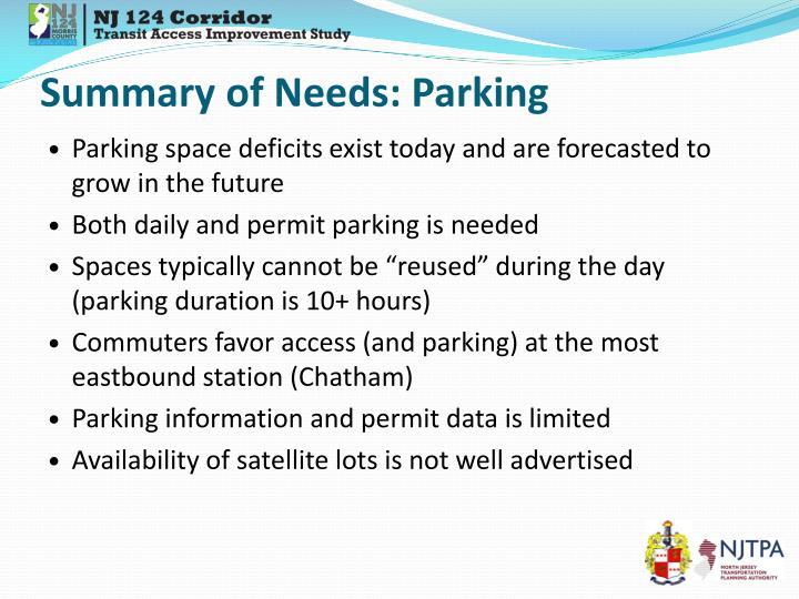 Summary of Needs: Parking