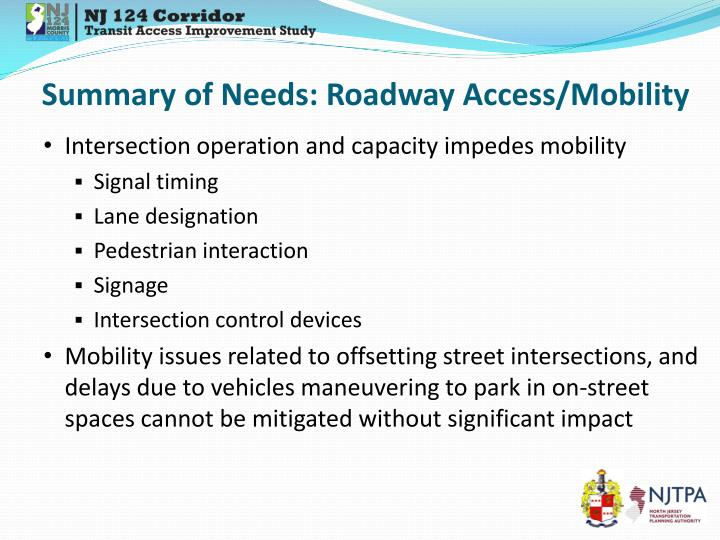 Summary of Needs: Roadway Access/Mobility