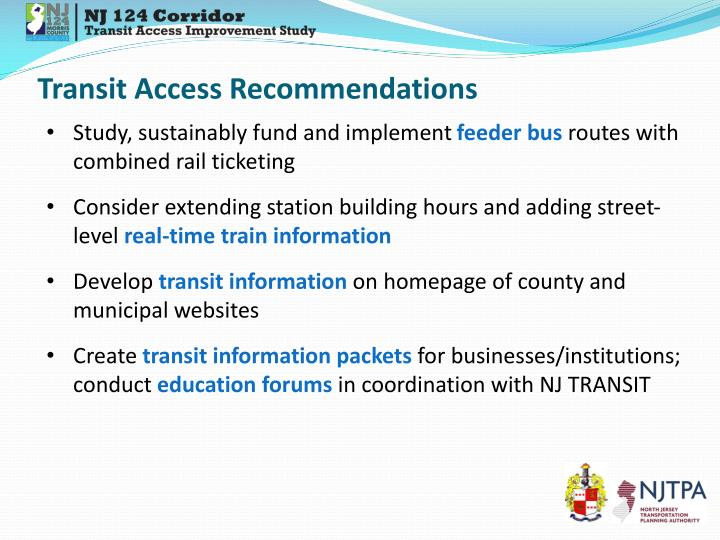 Transit Access Recommendations