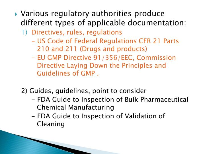 Various regulatory authorities produce different types of applicable documentation: