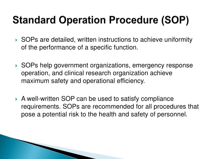 Standard Operation Procedure (SOP)