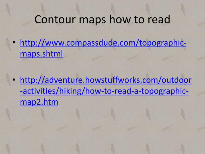 Contour maps how to read