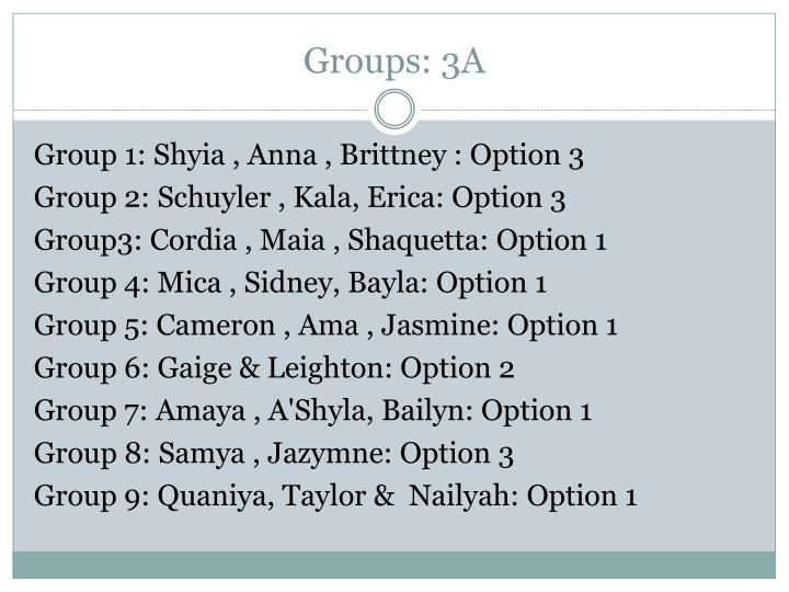 Groups: 3A
