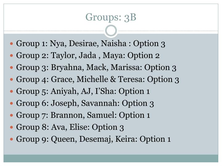 Groups: 3B