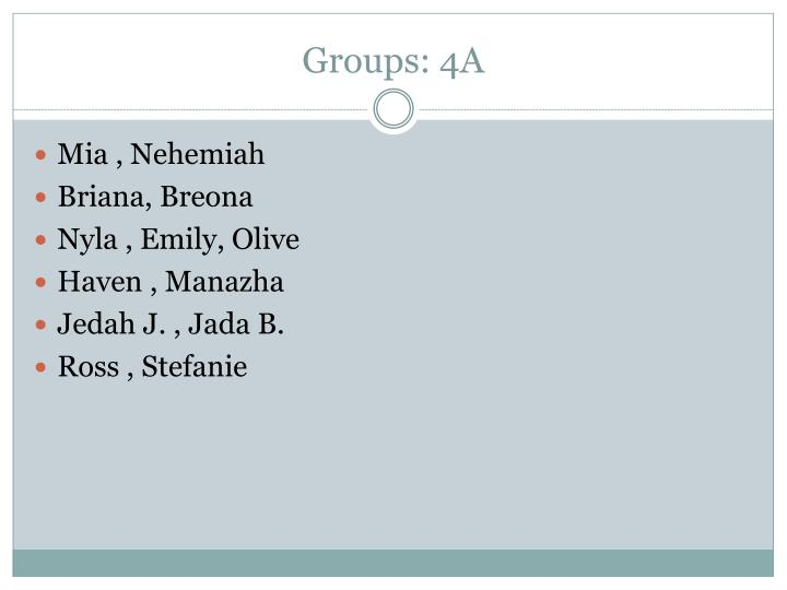 Groups: 4A