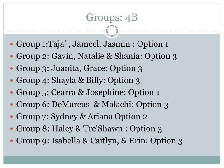 Groups: 4B