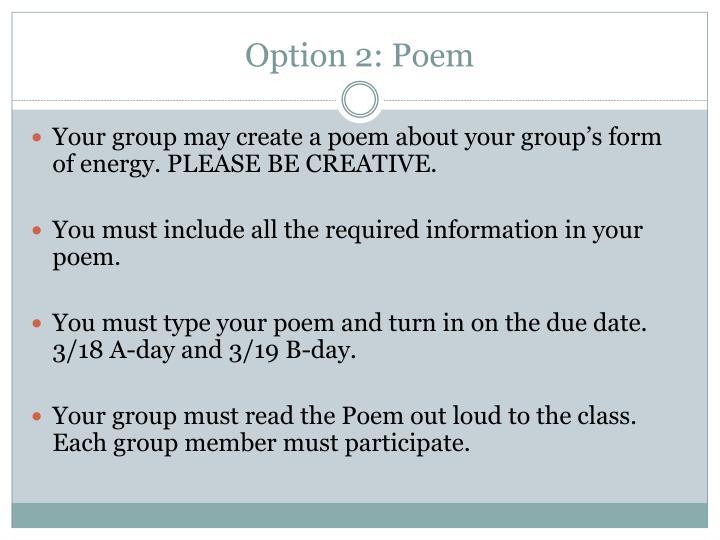 Option 2: Poem