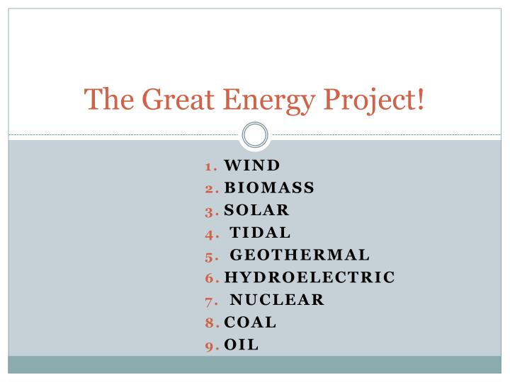 The Great Energy Project!