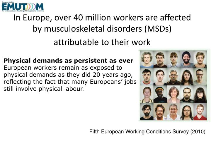 In Europe, over 40 million workers are affected by musculoskeletal disorders (MSDs) attributable to their work