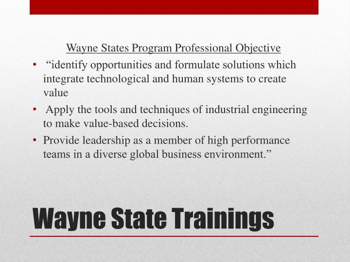 Wayne States Program Professional