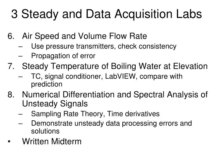 3 Steady and Data Acquisition Labs