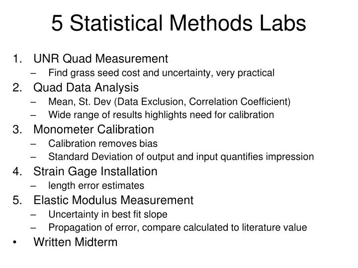 5 Statistical Methods Labs