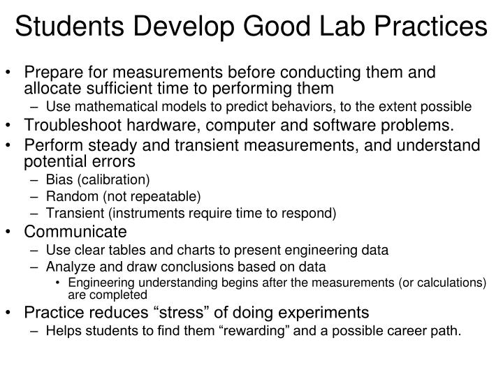 Students Develop Good Lab Practices