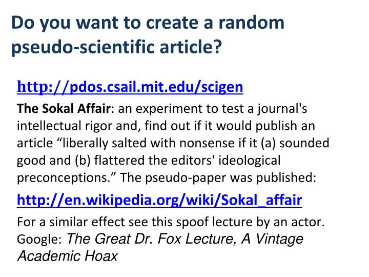 Do you want to create a random pseudo-scientific article?