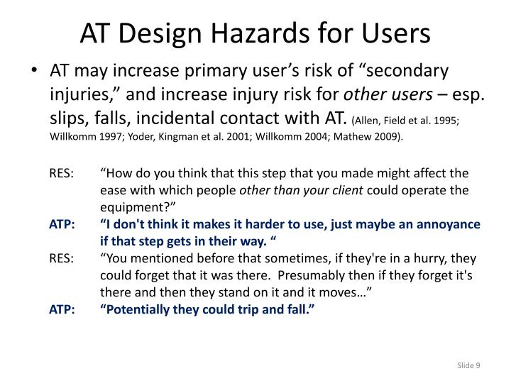 AT Design Hazards for Users