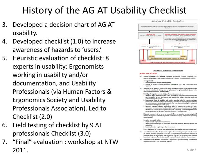 Developed a decision chart of AG AT usability.