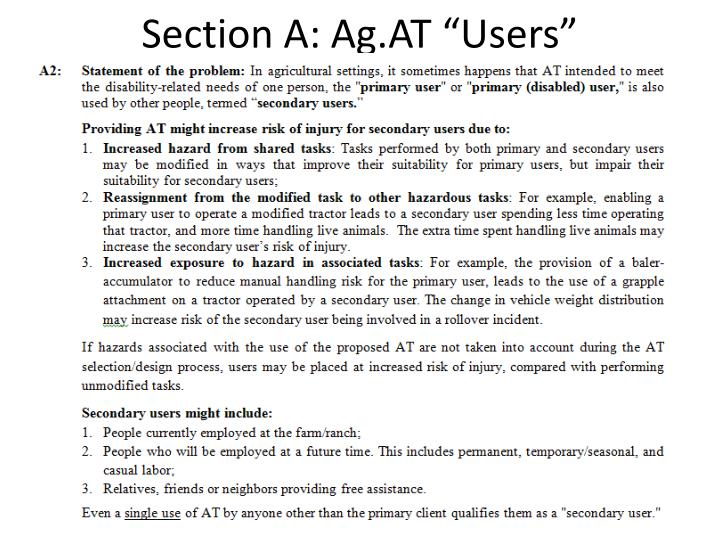 "Section A: Ag.AT ""Users"""