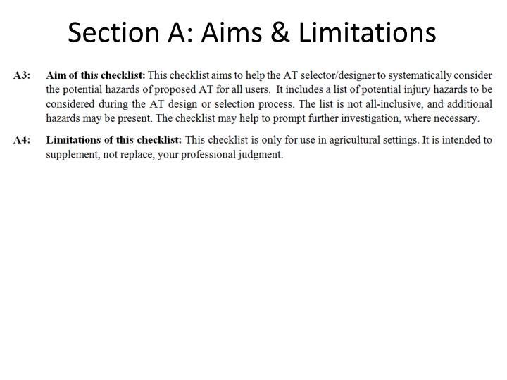 Section A: Aims & Limitations