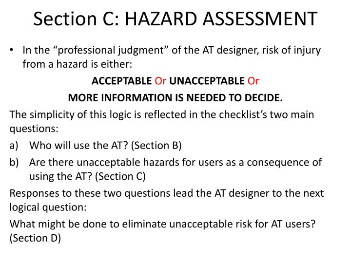 Section C: HAZARD ASSESSMENT