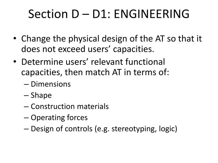 Section D – D1: ENGINEERING