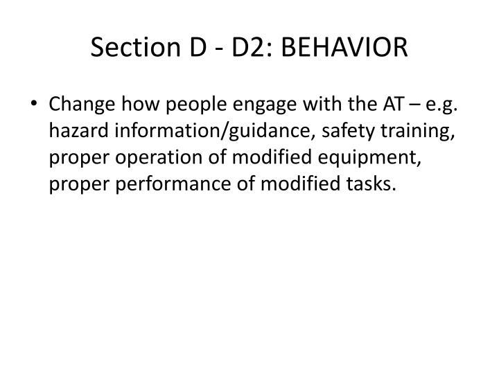 Section D - D2: BEHAVIOR