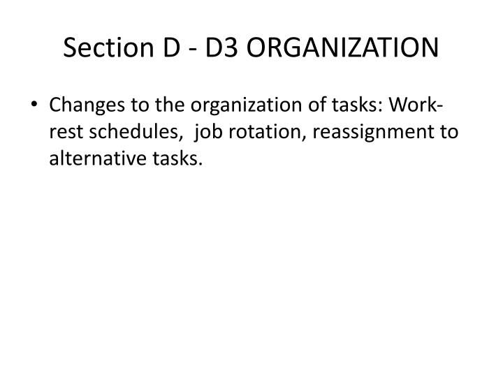Section D - D3 ORGANIZATION