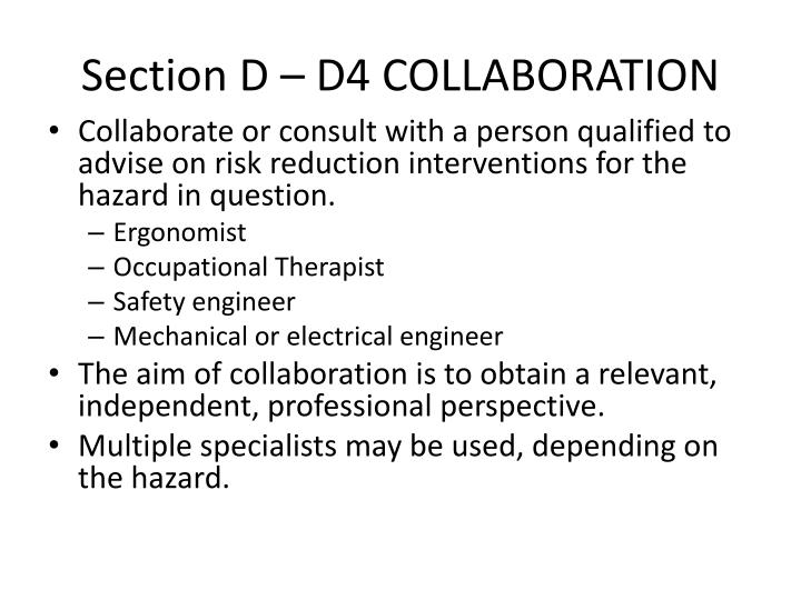 Section D – D4 COLLABORATION