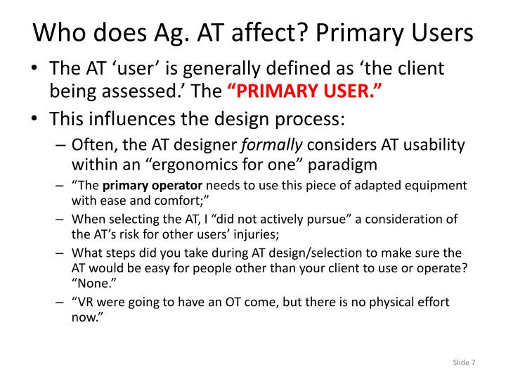Who does Ag. AT affect? Primary Users