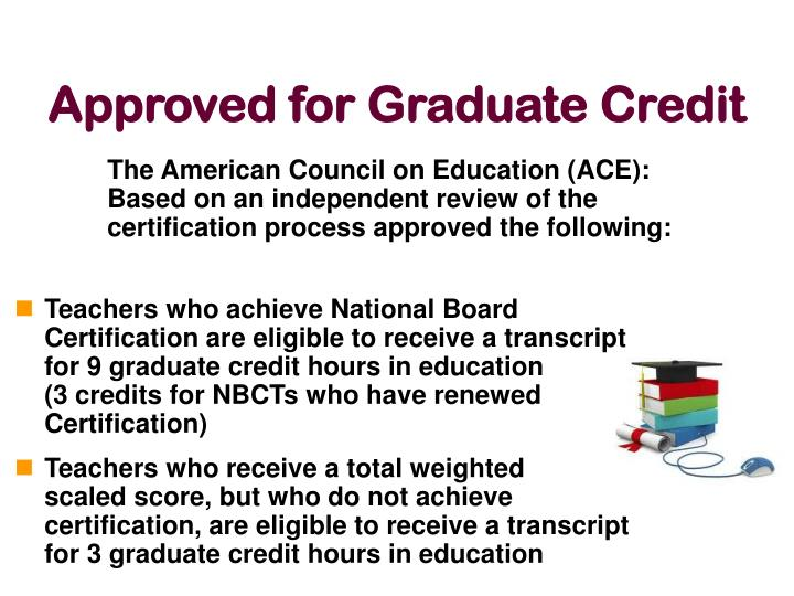 The American Council on Education (ACE): Based on an independent review of the certification process approved the following: